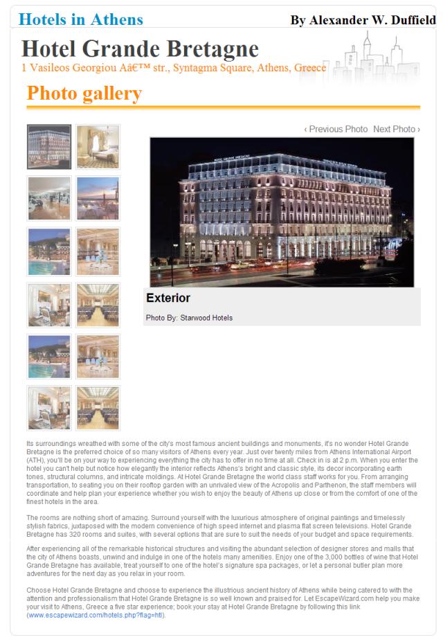 Hotel Grande Bretagne Article